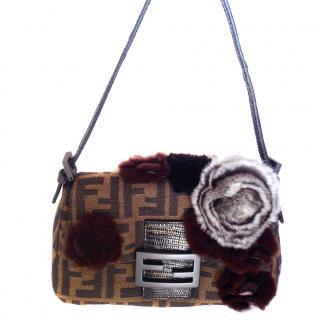 Fendi brown zucca small handbag with chinchilla fur elements