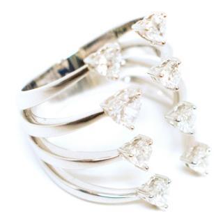 Bespoke White Gold Heart Diamonds Stacked Ring