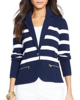 Ralph Lauren Navy Striped Knitted Blazer