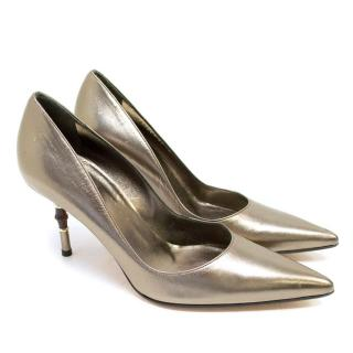 Gucci Bronze Pointed Pumps with Bamboo Stiletto