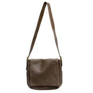 Bottega Veneta Brown Leather Intrecciato Messenger Bag