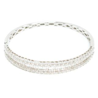 Bespoke White Gold Baguette and Diamond Bangle