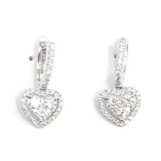 Bespoke White Gold Diamond Heart Earrings
