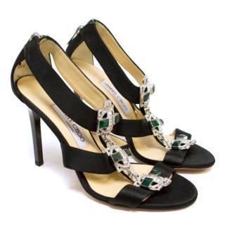 Jimmy Choo Black Satin Heeled Sandals with Crystals