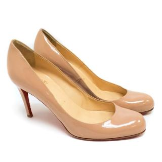Christian Louboutin Nude Patent Simple Pumps