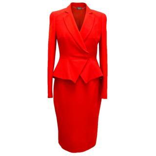 Alexander McQueen Red Two Piece Skirt Suit