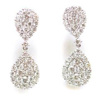Bespoke White Gold Diamond Pear Shape Earrings