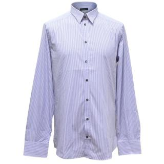 Dolce & Gabbana Men's White and Blue Striped Shirt