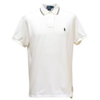 Polo by Ralph Lauren Mens White Polo T-shirt Custom Fit