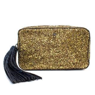 Anya Hindmarch Gold Glitter Clutch Bag