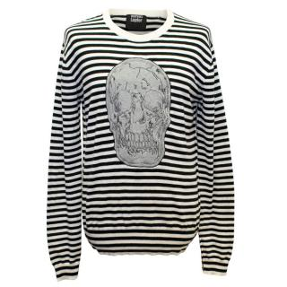 Markus Lupfer Black and White Striped Jumper with Skull