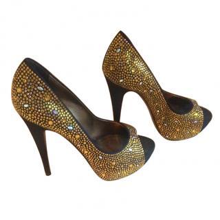 Gina Black and Gold Swarovski Peep-Toes