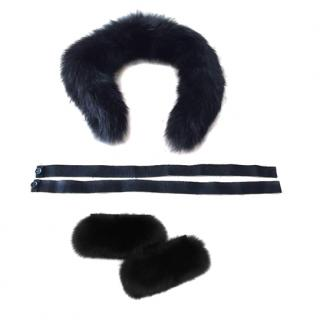 Max Mara black fox fur hood trim