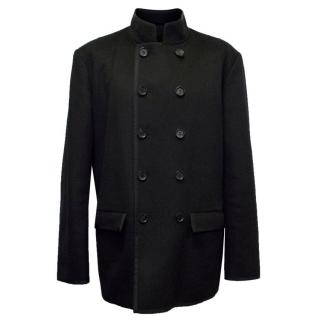 Nicole Farhi Black Wool & Cashmere Double Breasted Coat