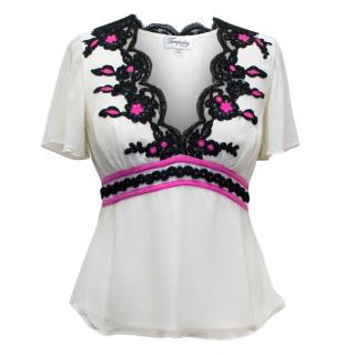 Temperley Cream Embroidered Top