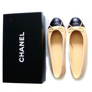Chanel Clasic Beige and Black Ballerinas