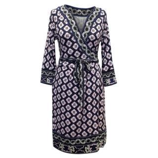 Diane Von Furstenberg Navy & Pink Pattern Wrap Dress