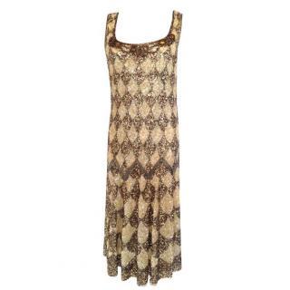 Blumarine Harlequin Sequin Gold/Bronze Evening Dress