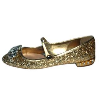 Miu Miu Crystal Embellished Mary Jane Flats