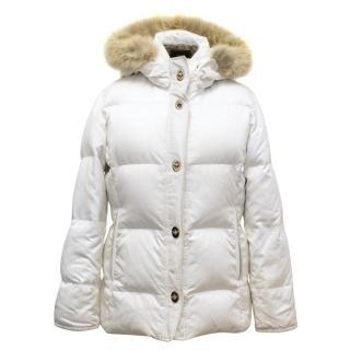 Coach White Puffer Coat With Coyote Fur Trim