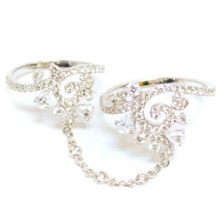 Bespoke White Gold Diamond Double Ring