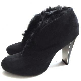 Vicini High Heel Suede & Fur Ankle Boots in Black