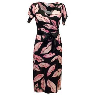 Diane von Furstenberg Silk Lips Print Wrap Dress