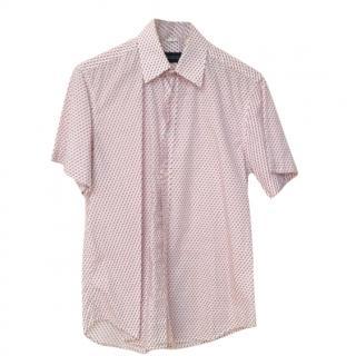 Barneys Men's Red and Blue Geometric Print Short Sleeve Shirt