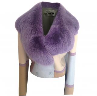 Valentino jacket with light purple fur collar