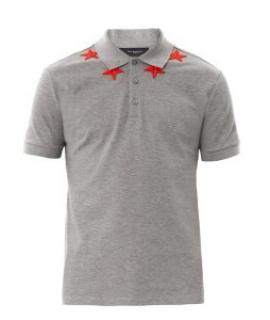 Givenchy Men's Grey Star-applique Cotton Polo Shirt