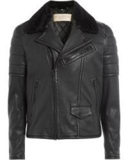 Burberry Brit Men's Leather Biker Jacket With Shearling - Black