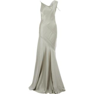 AMANDA WAKELEY Silver Tone Silk Fluted Gown