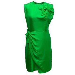Diane Von Furstenberg Ruched Green Shift Dress
