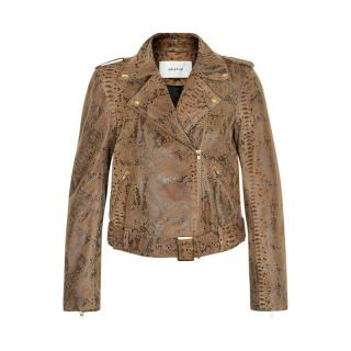 Gestuz Leather Snakeskin Print Jacket