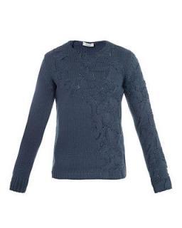 Balenciaga Men's Blue Cable Knit Sweater