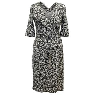 Diane Von Furstenberg Black & White Pattern Wrap Dress