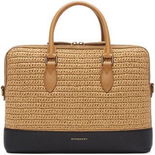 BURBERRY PRORSUM The Barrow Raffia And Leather Briefcase
