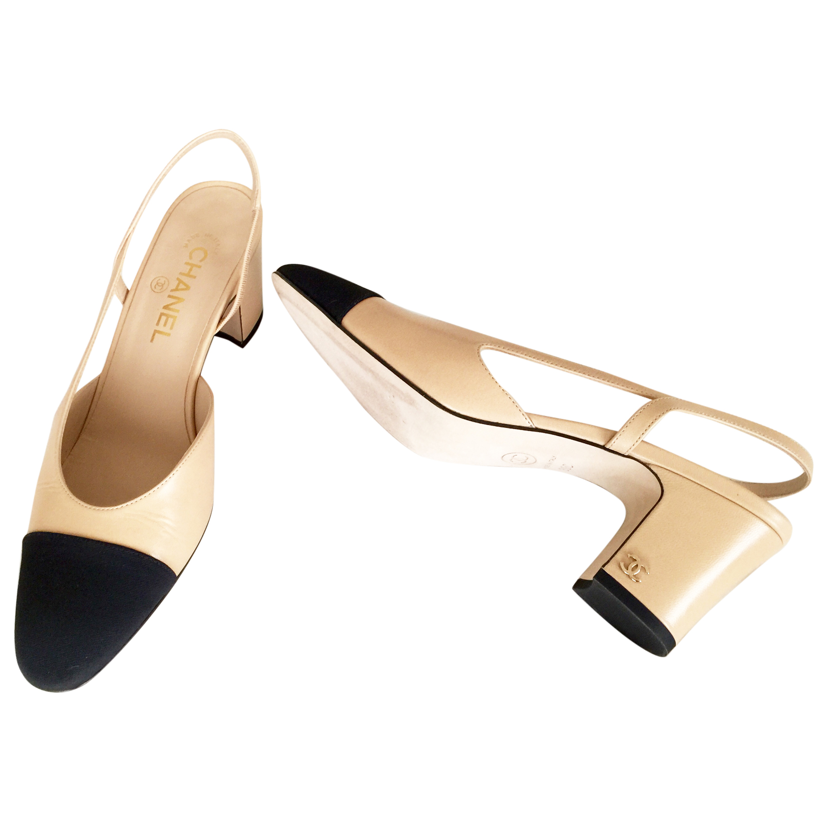 Chanel Slingback Shoes Beige And Black