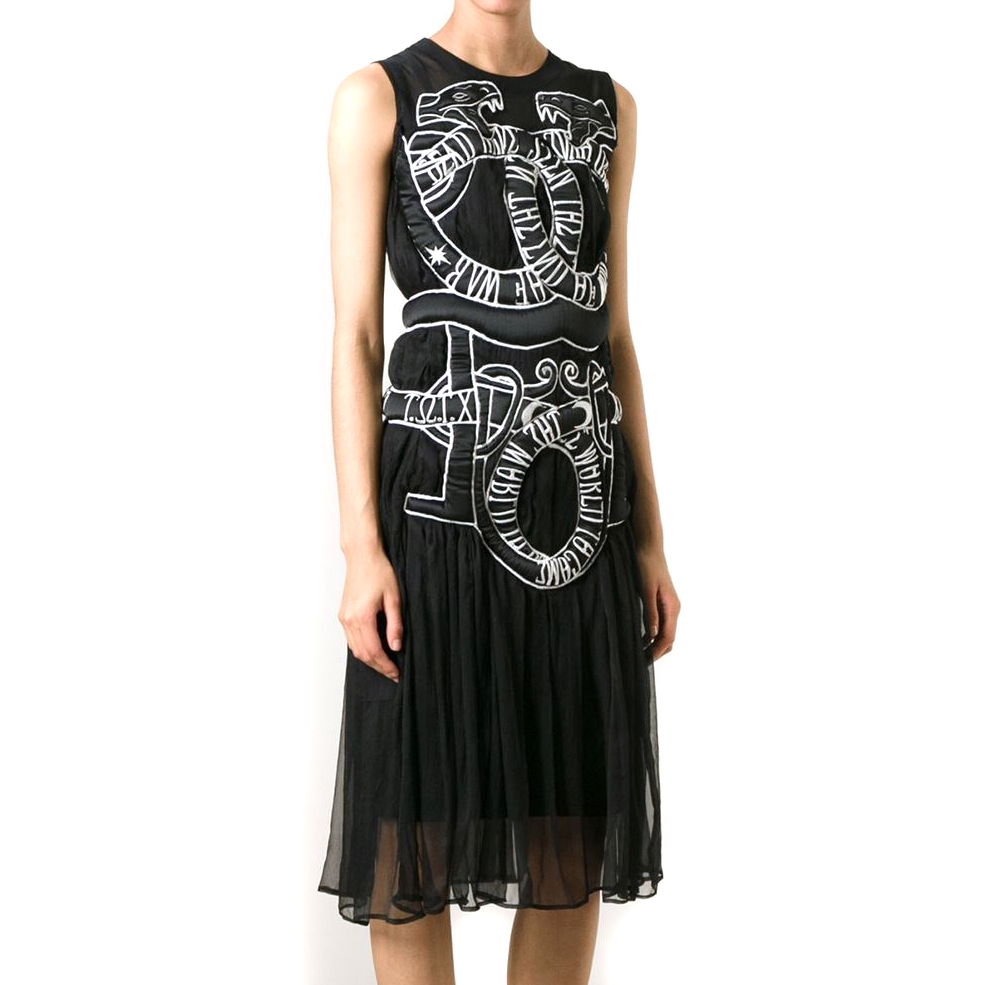 KTZ embroidered snake chiffon dress