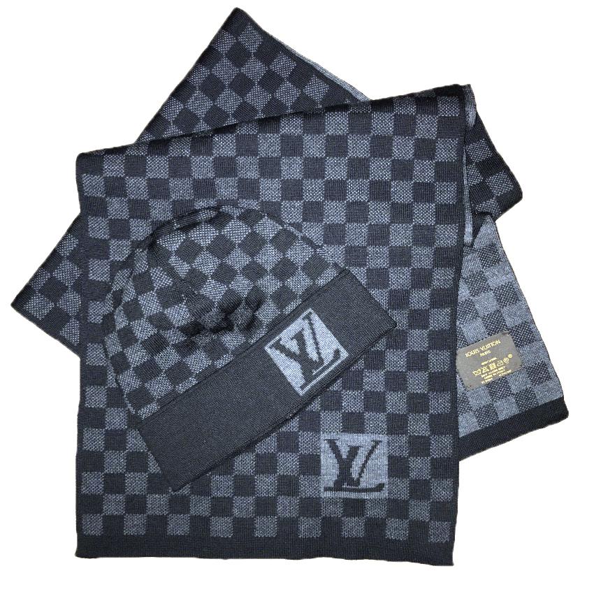 75ce2a32019 Louis Vuitton Petit Damier Hat And Scarf Set