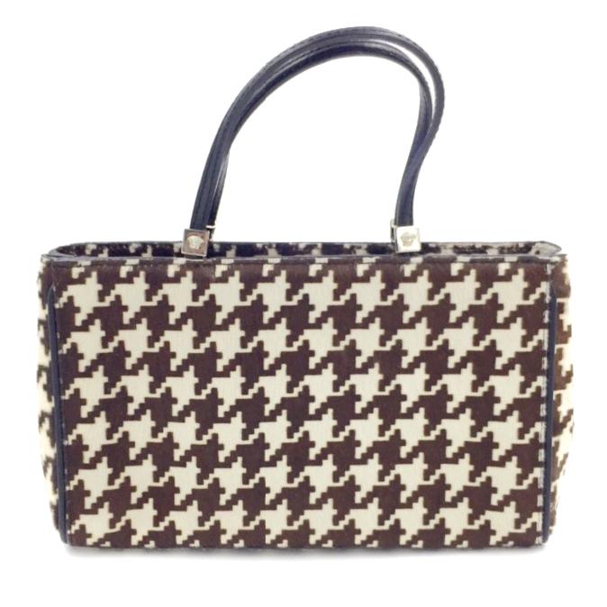 59f2ed0540e3 Versace Calf Hair Houndstooth Evening Tote Bag Small Handbag   HEWI ...