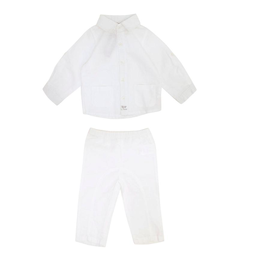 3pommes Boys White Linen Shirt and Trousers Set