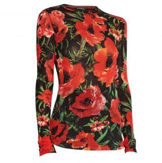 Balmain floral print black wool blend light sweater