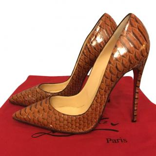 Christian Louboutin Snakeskin So Kate Leather Pointed Heels