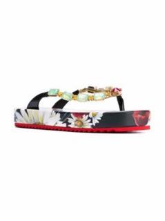 Dolce&Gabbana embellished platform flower print flip flops
