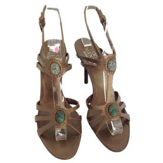 Valentino Bronze Leather Heels With Gade Stones