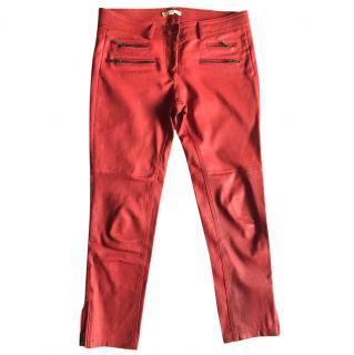 Ba&sh Zipped Red Leather Leggings