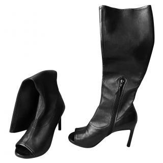 Stuart Weitzman Knee Length Peep Toe Boots