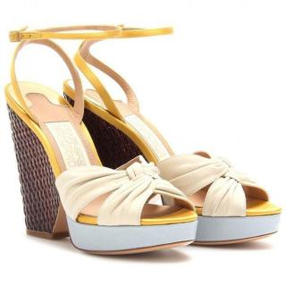Salvatore Ferregamo Leather Woven Suna Wedge Sandals