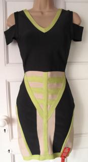 Herve Leger Charcoal Lime Nude Bandage Scuba dress XS